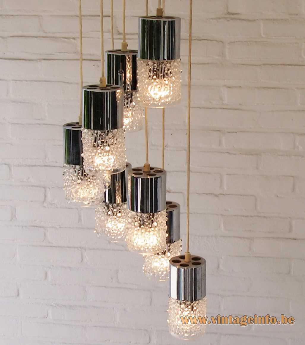 AKA Electric Cascade Pendant Chandelier VEB Leuchtenbau 8 candle wax glass lamps drops 1970s MCM GDR