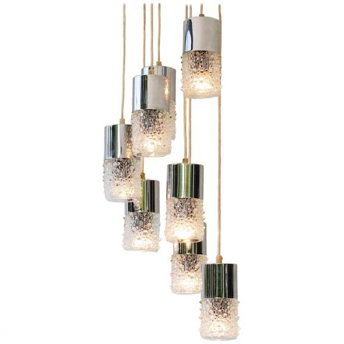 AKA Electric cascade pendant chandelier 8 candle wax drops glass lampshades VEB Leuchtenbau 1970s East Germany