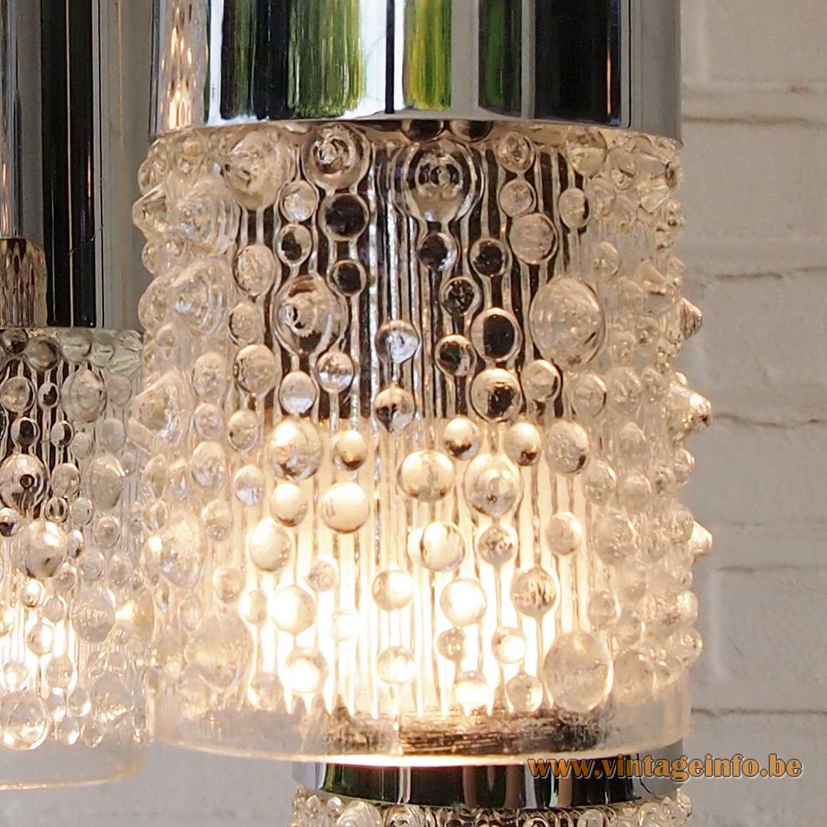 AKA Electric cascade pendant chandelier 8 candle wax drops glass lampshades VEB Leuchtenbau 1970s East Germany
