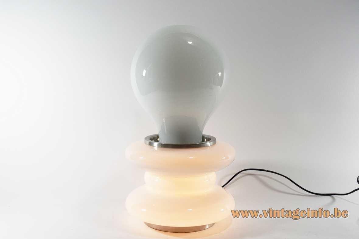 Carlo Nason bulb table lamp white opal Murano glass globe aluminium rings 1970s AV Mazegga Italy