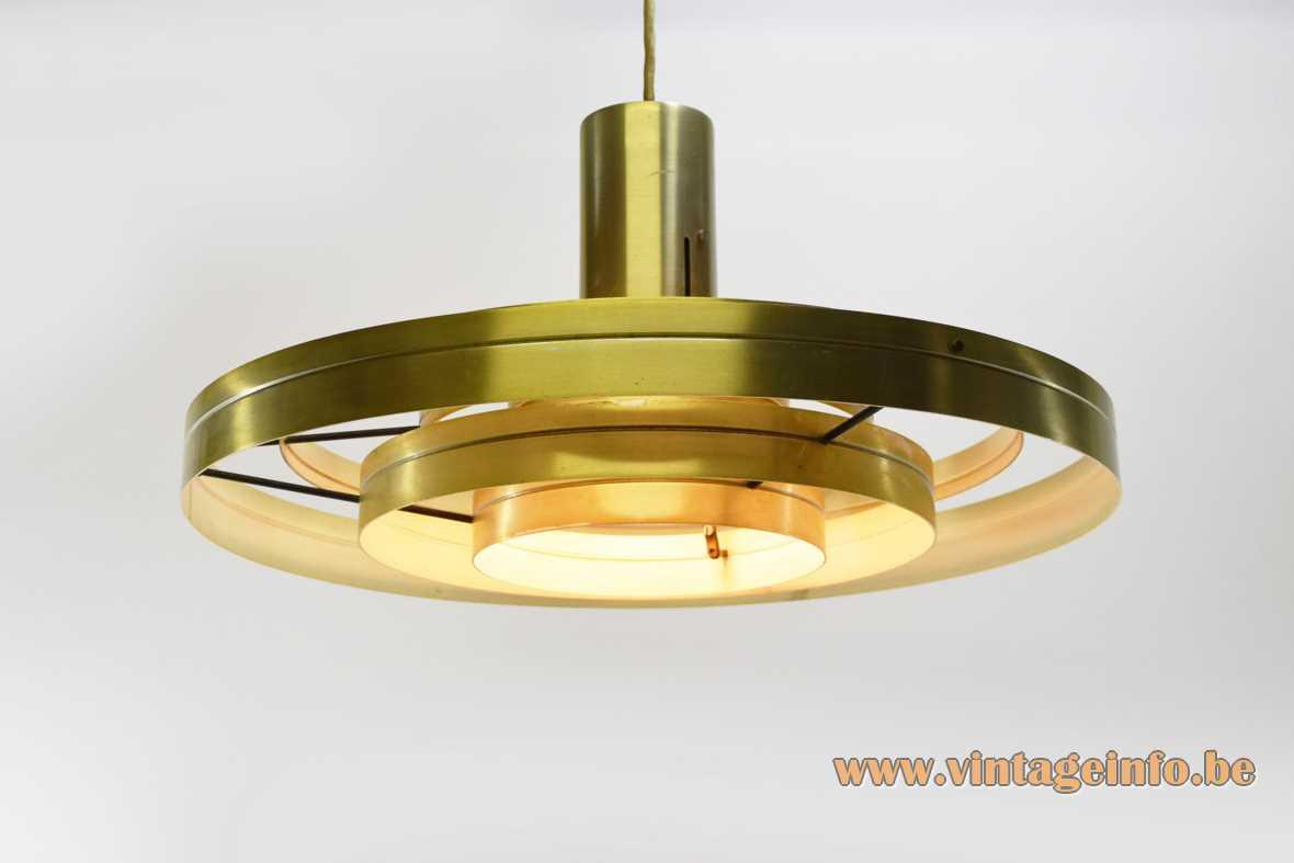 Fog & Morup Fibonacci pendant lamp 1963 design: Sophus Frandsen Saturn brass coloured aluminium rings lampshade 1960s