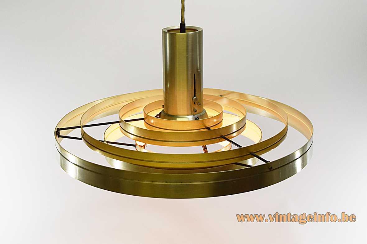 Fog & Morup Fibonacci pendant lamp design: Sophus Frandsen 1960s 1970s aluminium rings Lindner LJS E27 socket