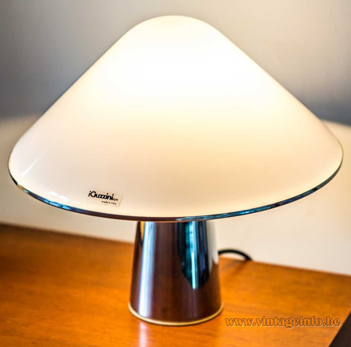 Harvey Guzzini Elpis table lamp round chrome base conical acrylic mushroom lampshade 1960s 1970s iGuzzini Italy