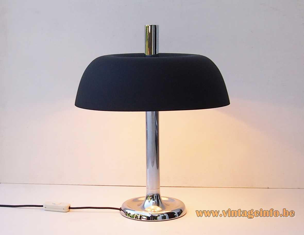 Hillebrand 7377 desk or table lamp black aluminium lampshade chrome rod 1970s MCM Germany mushroom