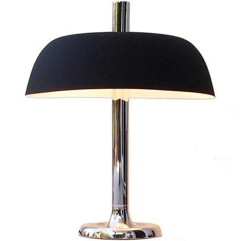 Hillebrand 7377 desk lamp chrome base & thick rod black aluminium mushroom lampshade 1970s Germany