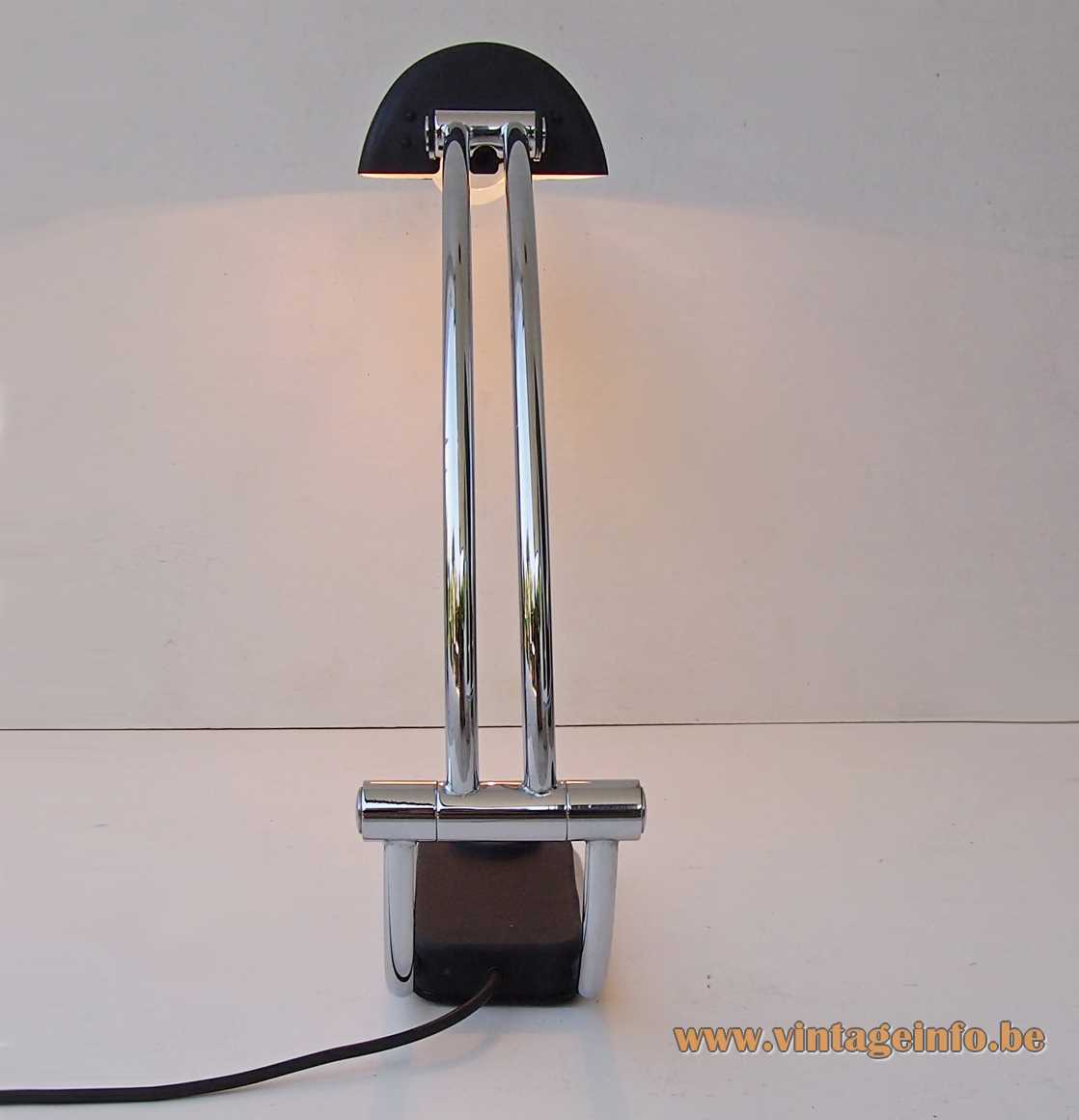 Hillebrand desk lamp 7619 black base & adjustable lampshade curved chrome rod 1970s Germany large switch