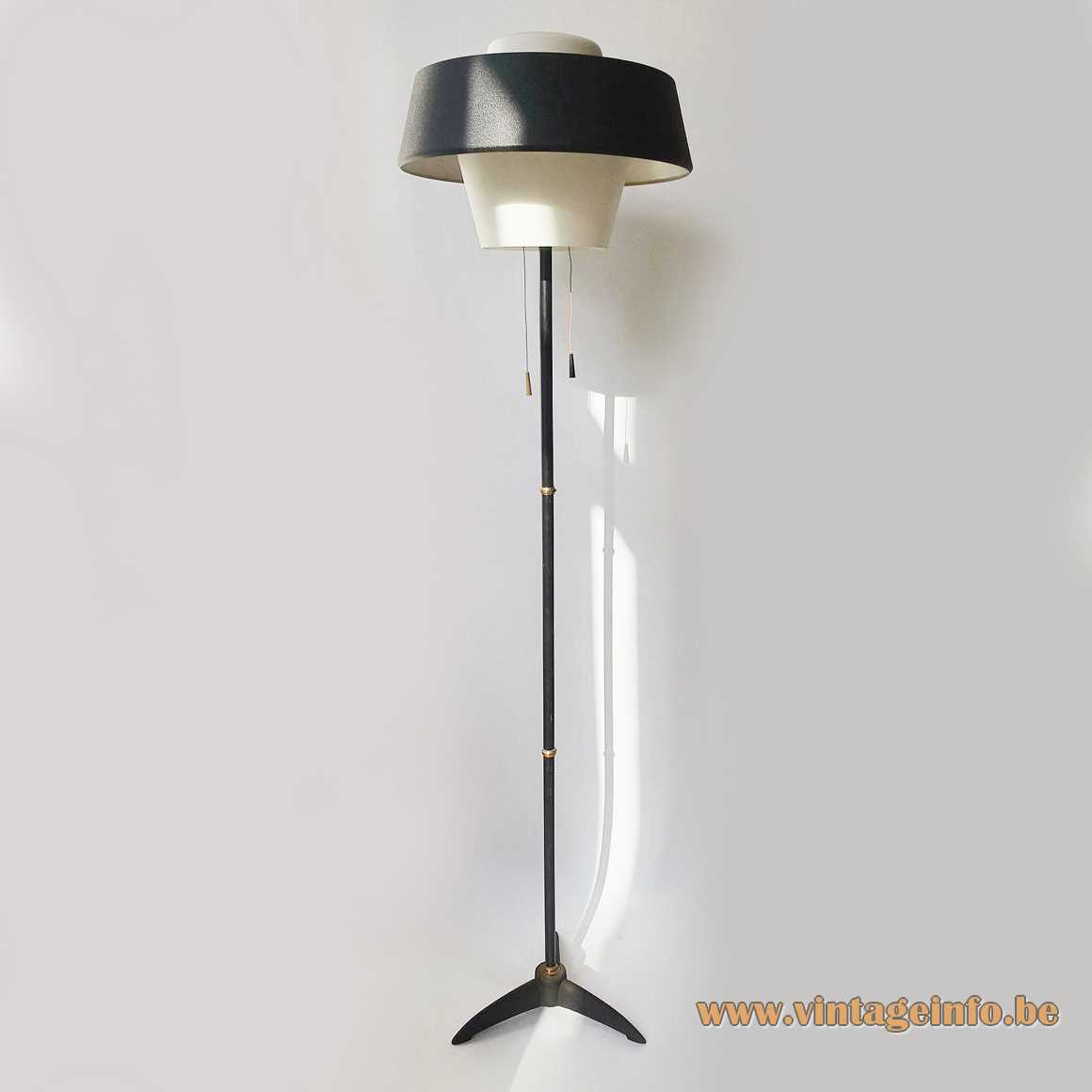Louis Kalff NX 109 floor lamp Philips 1950s tripod opal glass diffuser black metal wrinkle paint lampshade