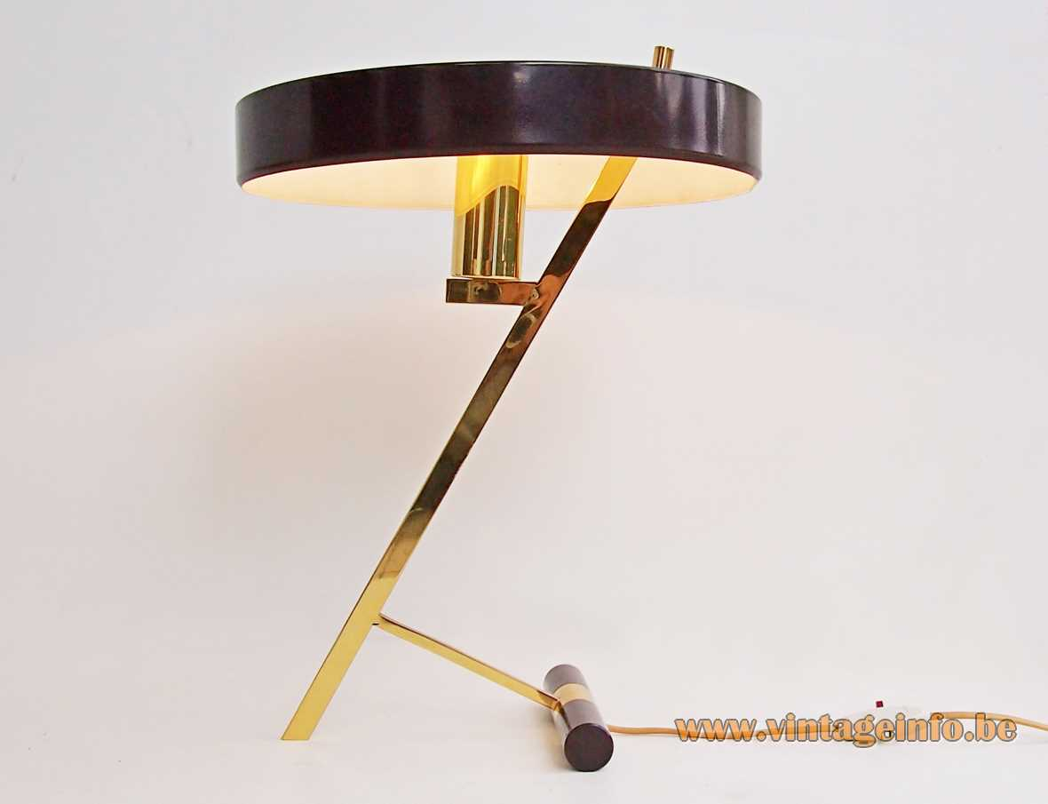 Louis Kalff Philips Z table lamp counterweight base brass rods slats brown mushroom lampshade 1960s 1970s