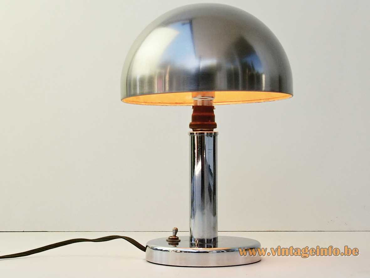 Luminator Paris mushroom table lamp chrome base rod & lampshade 1920s 1930s art deco Bauhaus France