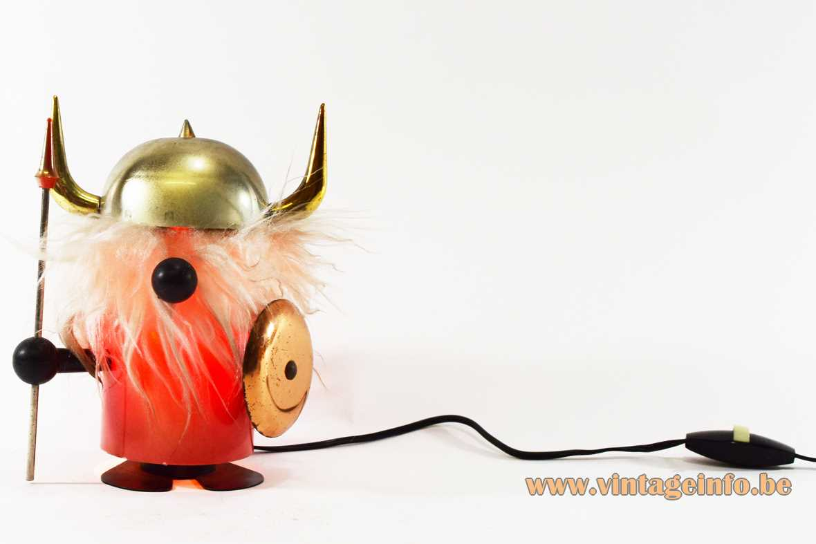 OTF viking table lamp Olaf Old Timer Ferrari Italy plastic white hair copper shield 1960s 1970s MCM