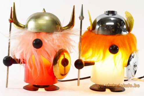 OTF viking table lamp Olaf Old Timer Ferrari Italy plastic spear shield helmet 1960s 1970s MCM