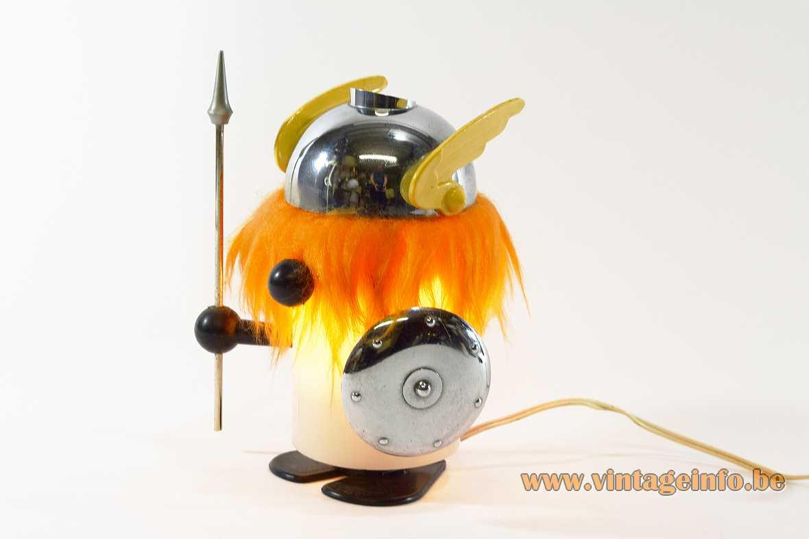 Olaf the viking table lamp Old Timer Ferrari OTF Italy acrylic tube plastic orange hair chrome 1960s 1970s MCM