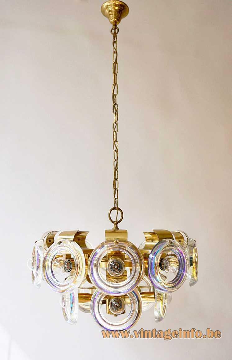Oscar Torlasco Lens Chandelier brass frame 15 discs Esperia Italy 1960s 1970s MCM E14 light sockets