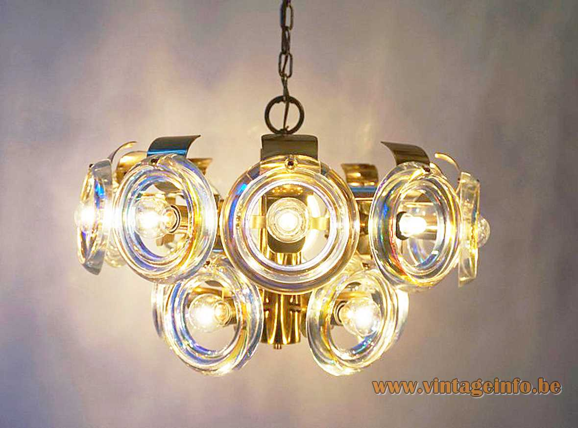 Oscar Torlasco lens chandelier brass frame & chain 15 optic discs lampshade Esperia Italy 1960s 1970s