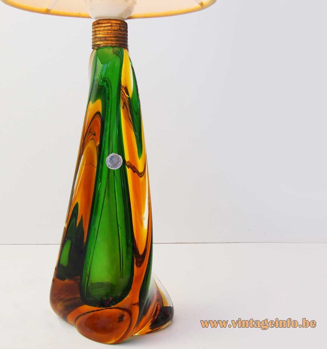Pietro Toso table lamp hand blown Sommerso bio-morph Murano glass conical fabric lampshade 1950s 1960s Italy
