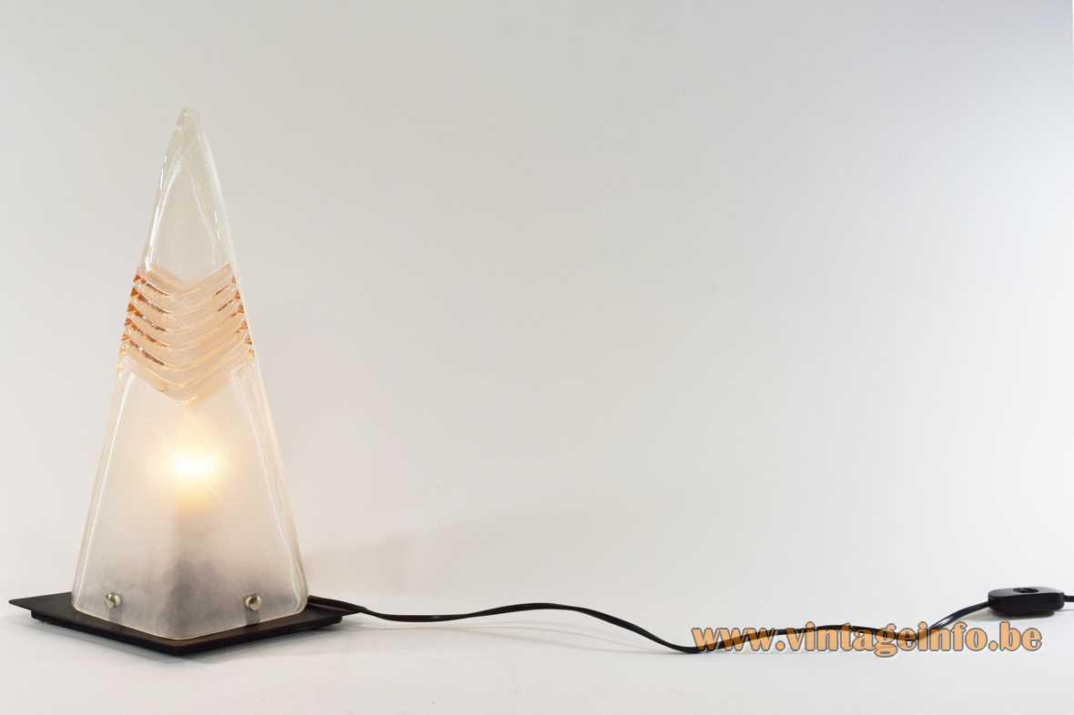 Pyramid Murano table lamp diamond shape base 2 triangular glass parts AV Mazzega Carlo Nason 1980s 1990s