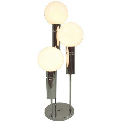 Solken Leuchten opal globes table lamp chrome tubes round base E14 lamp sockets 1970s MCM Mid-Century Modern Germany