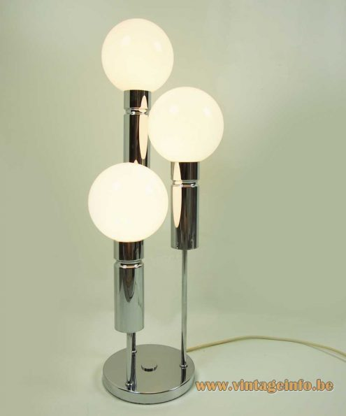 Solken Leuchten opal globes table lamp chrome tubes round base E14 lamp sockets 1970s MCM Mid-Century Modern Germany