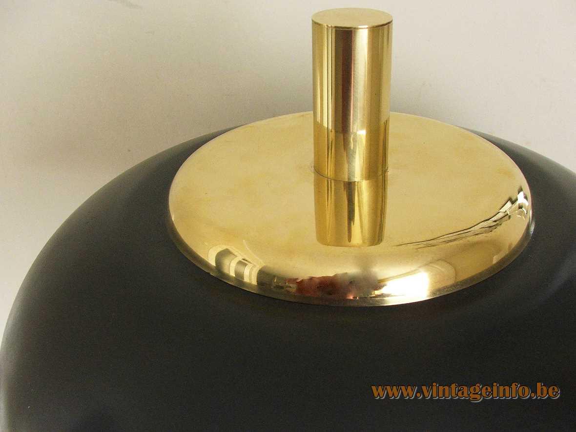 Solken-Leuchten mushroom desk lamp round brass base & rod black UFO lampshade 1970s Hillebrand Germany