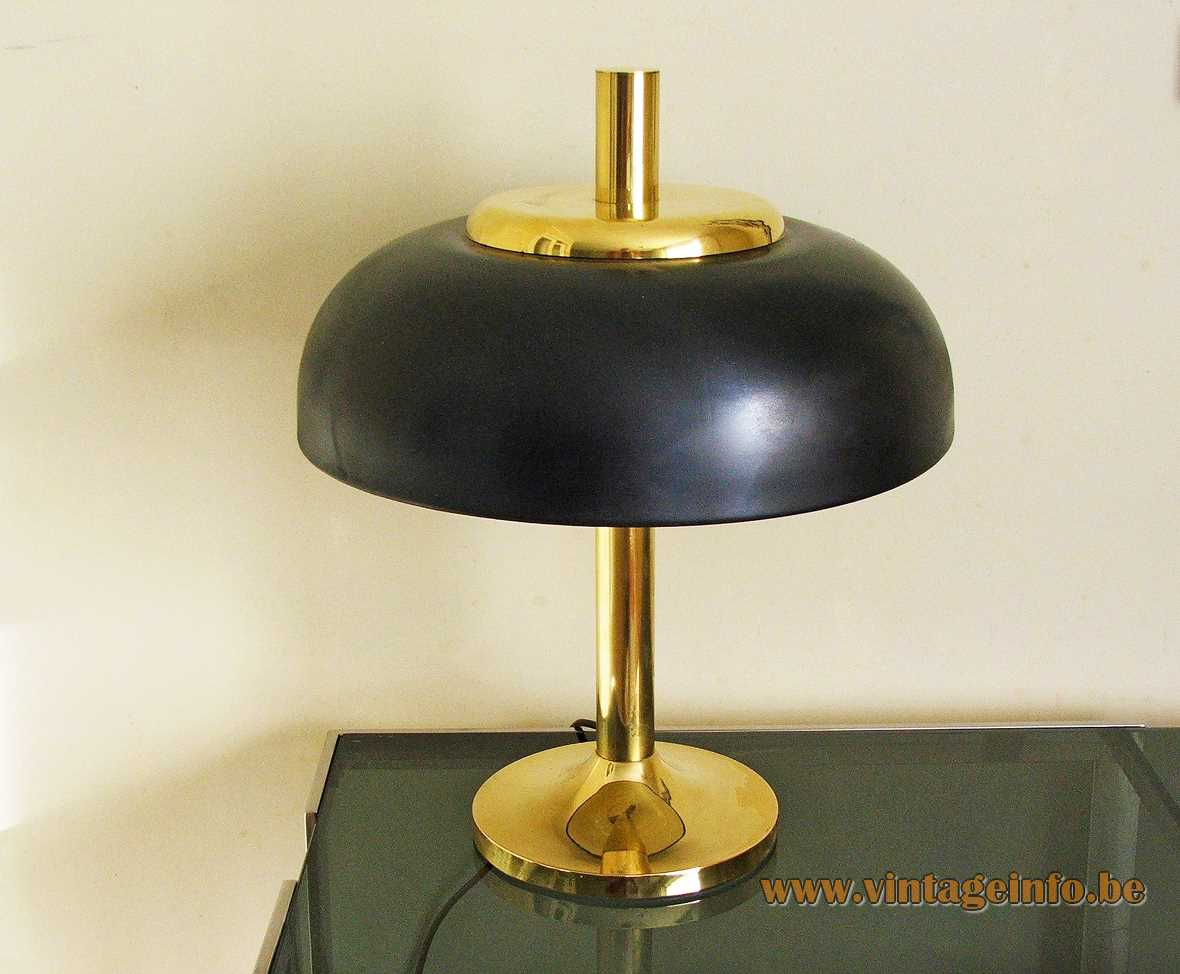 Solken-Leuchten mushroom desk lamp round brass base & rod black UFO lampshade 1970s Hillebrand Germany
