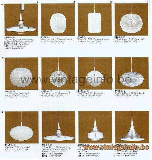 Aloys Ferdinand Gangkofner ERCO Pendant Lamps - 1976 Catalogue