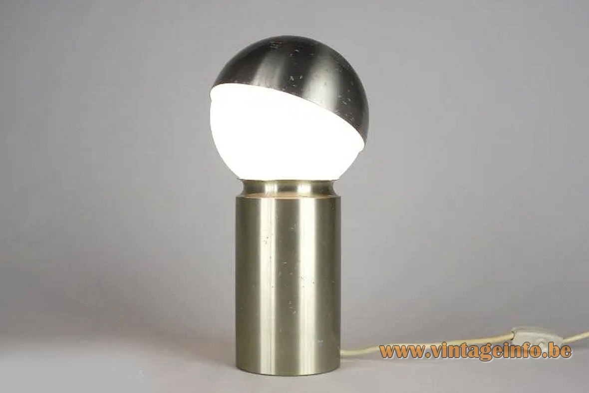 Antonio Carpintero globe table lamp brushed aluminium tube white opal glass metal lampshade 1970s Carpyen Spain