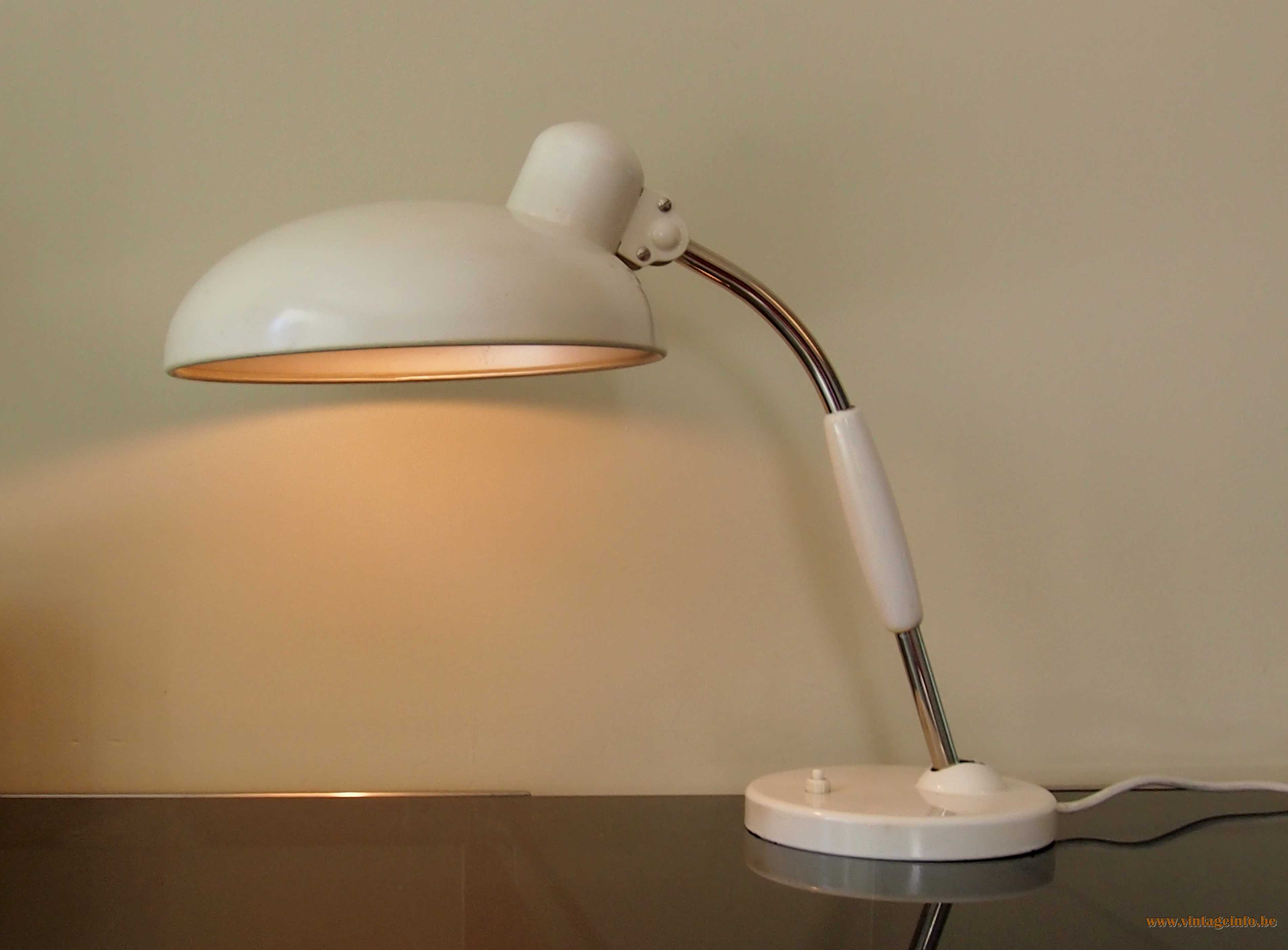 Christian Dell Koranda Desk Lamp 1933 design white metal chrome 1960s, 1970s Bauhaus Bruder Koranda & Co Austria