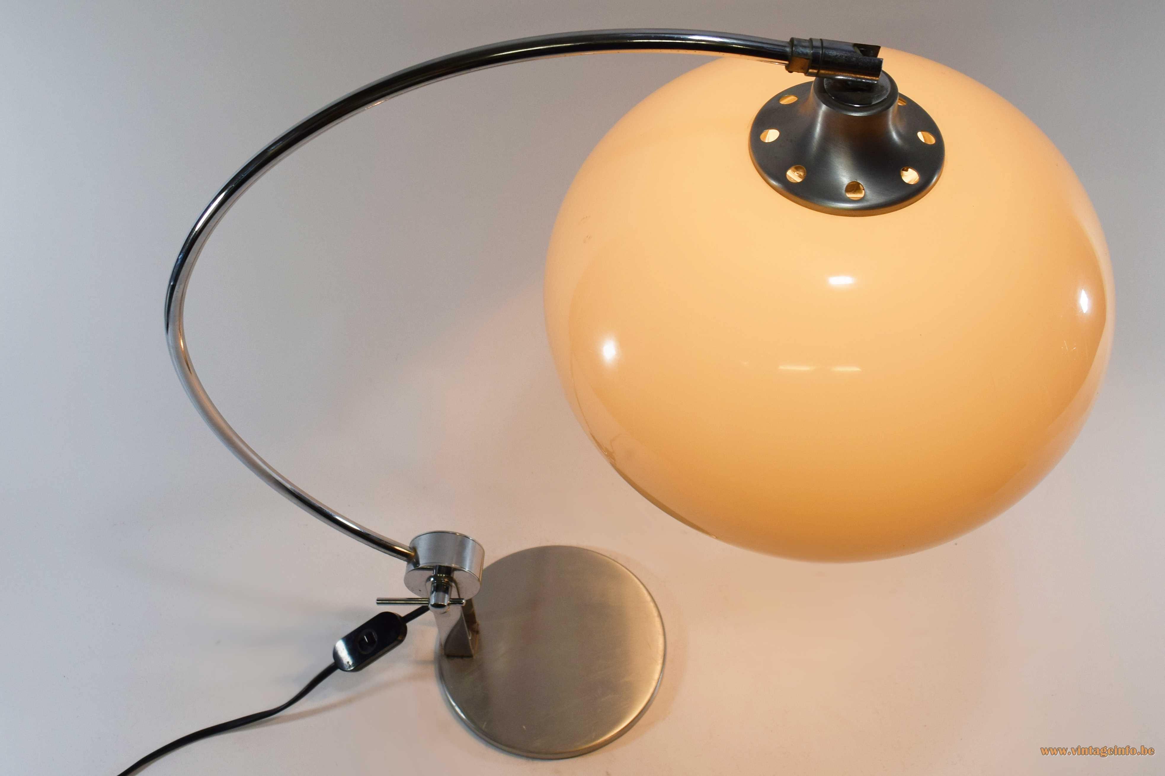 Chrome arc table lamp flat round base curved rod brown acrylic globe lampshade 1960s 1970s Massive