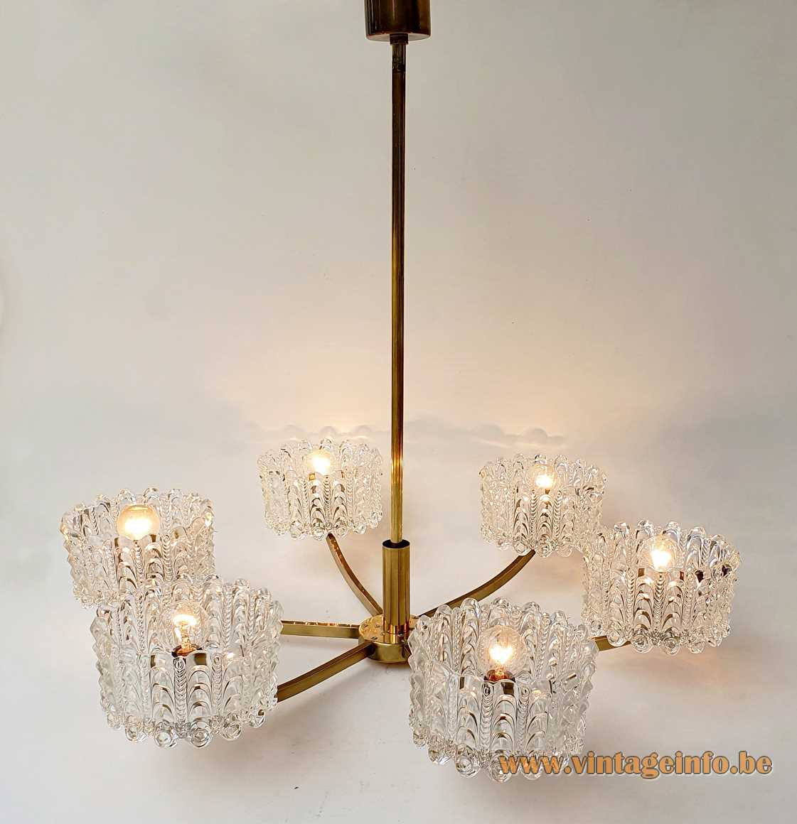 DORIA crystal glass bowls chandelier 6 chalices brass rods 1960s 1970s E27 sockets Mid-Century Modern MCM Germany