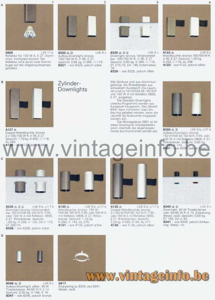 ERCO Zylinder Wall Lamps - 1976 Catalogue
