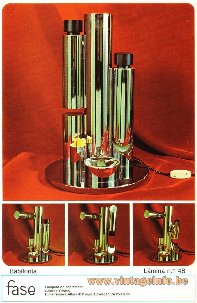 Fase Babilonia table lamp 1970s Chrome tubes folding Madrid Spain E14 sockets Mid-Century Modern MCM