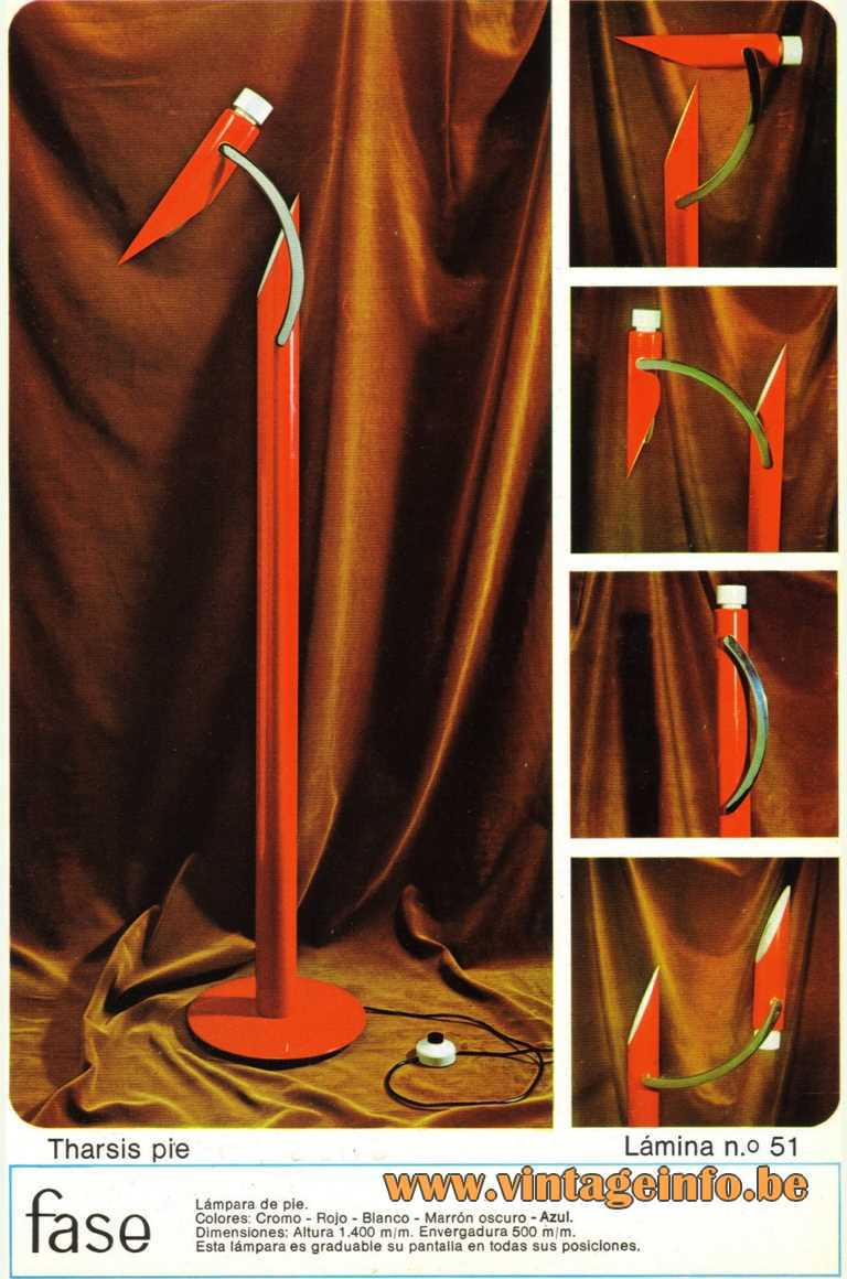 Fase Tharsis Pie floor lamp 1970s Chrome tubes folding Madrid Spain E14 socket Mid-Century Modern MCM