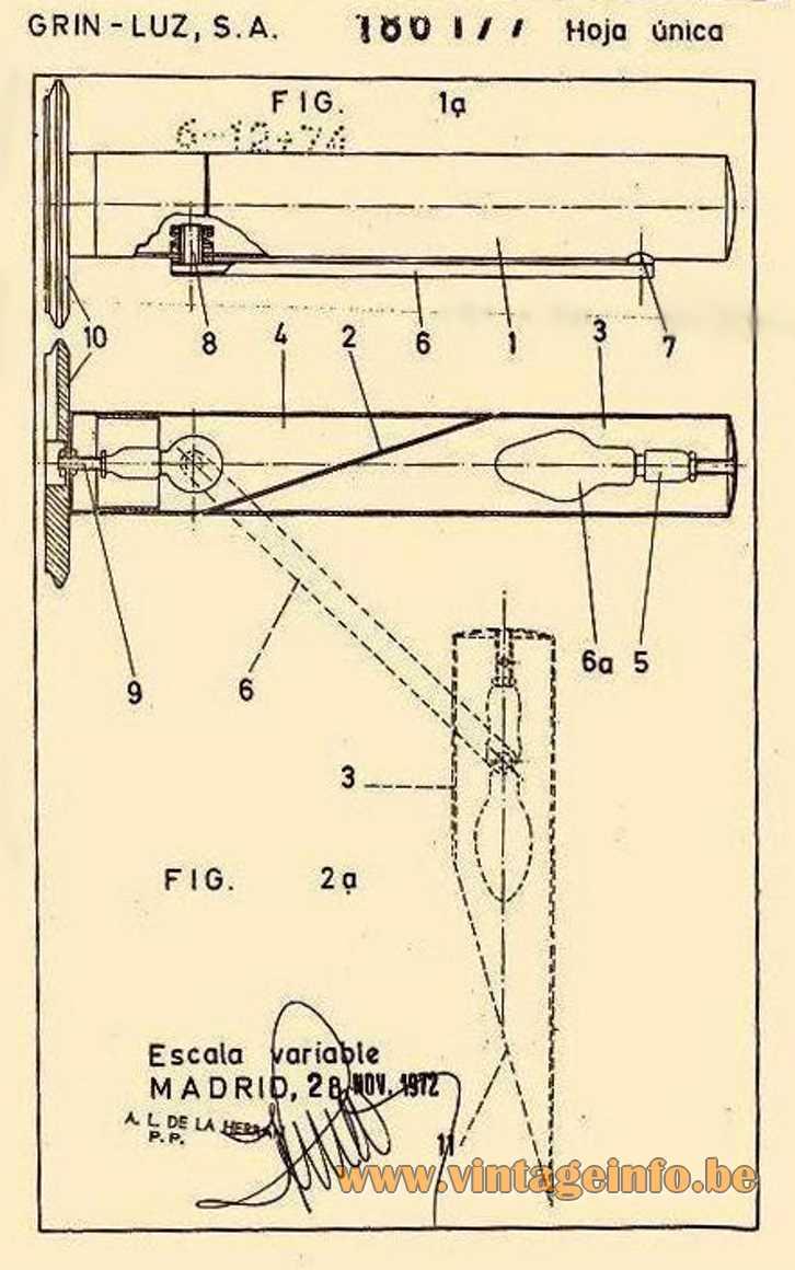 Fase Tharsis Table Lamp - 1972 scheme Madrid Spain E14 socket Mid-Century Modern MCM 1970s