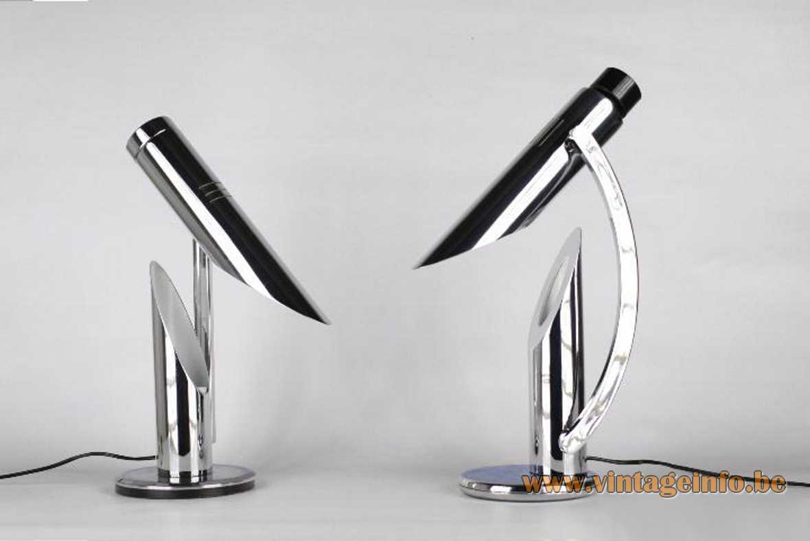 Fase Tharsis table lamp + Grin Luz lamp straight and curved rod tubular lampshade 1970s Madrid Spain