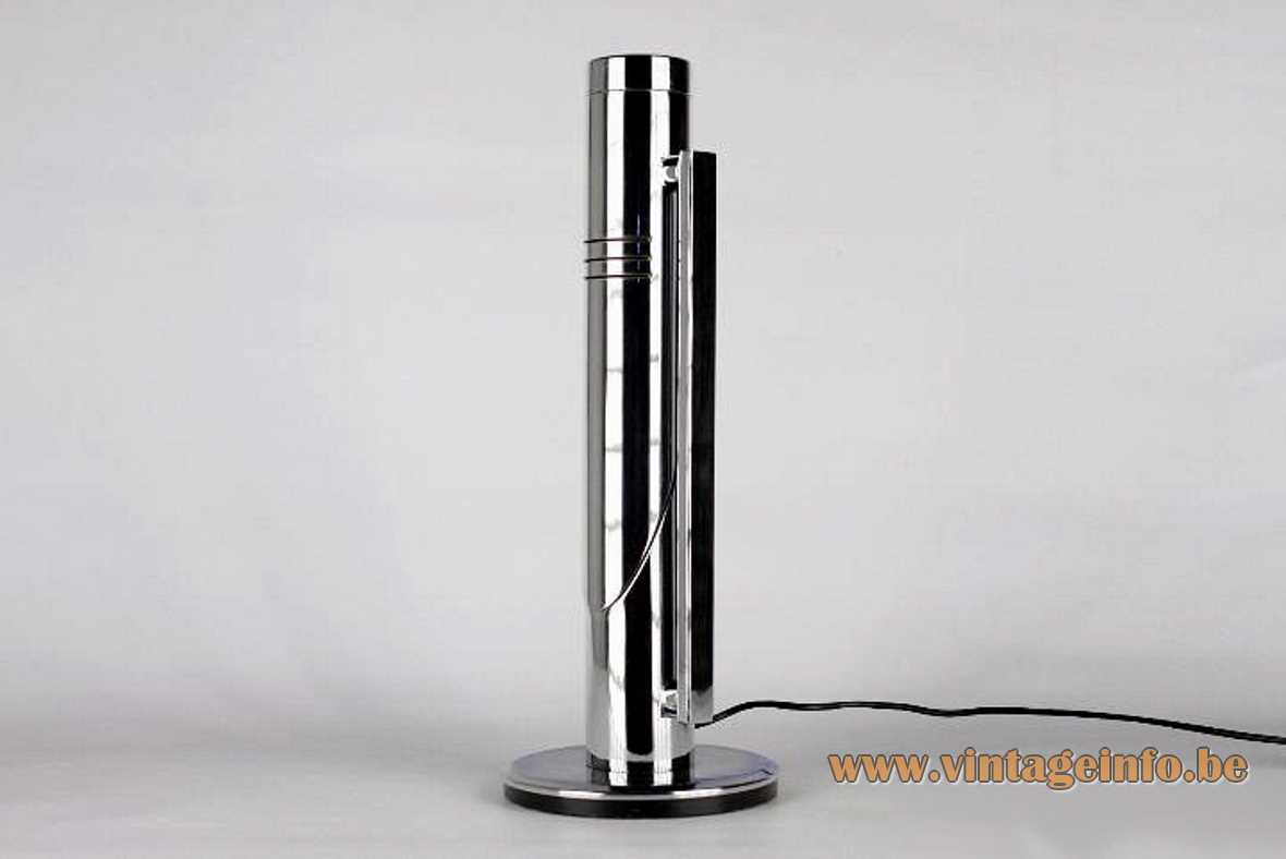 Fase Tharsis table lamp Grin Luz version straight chrome rod tubular lampshade 1970s Madrid Spain