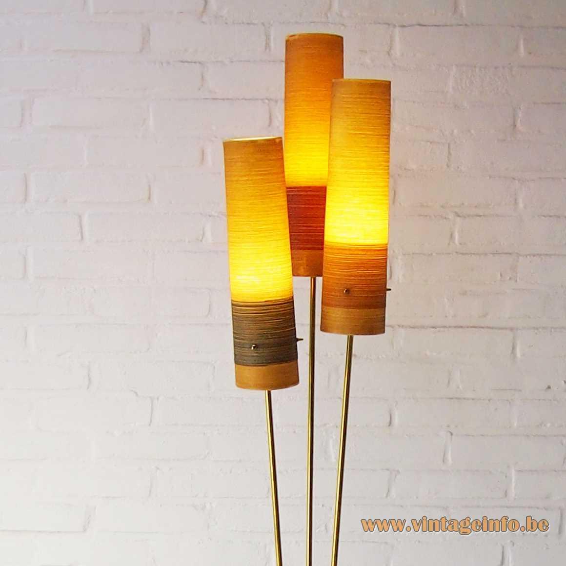 Fibreglass triple cone rocket floor lamp brass rods Novoplast Czech Republic 1950s 1960s Mid-Century Modern