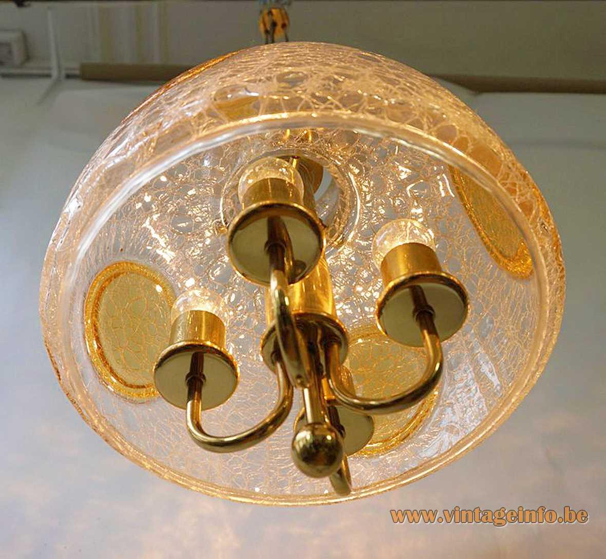 Glashütte Limburg crackle glass chandelier design: Herbert Proft clear & amber glass lampshade brass rods 1970s 1980s
