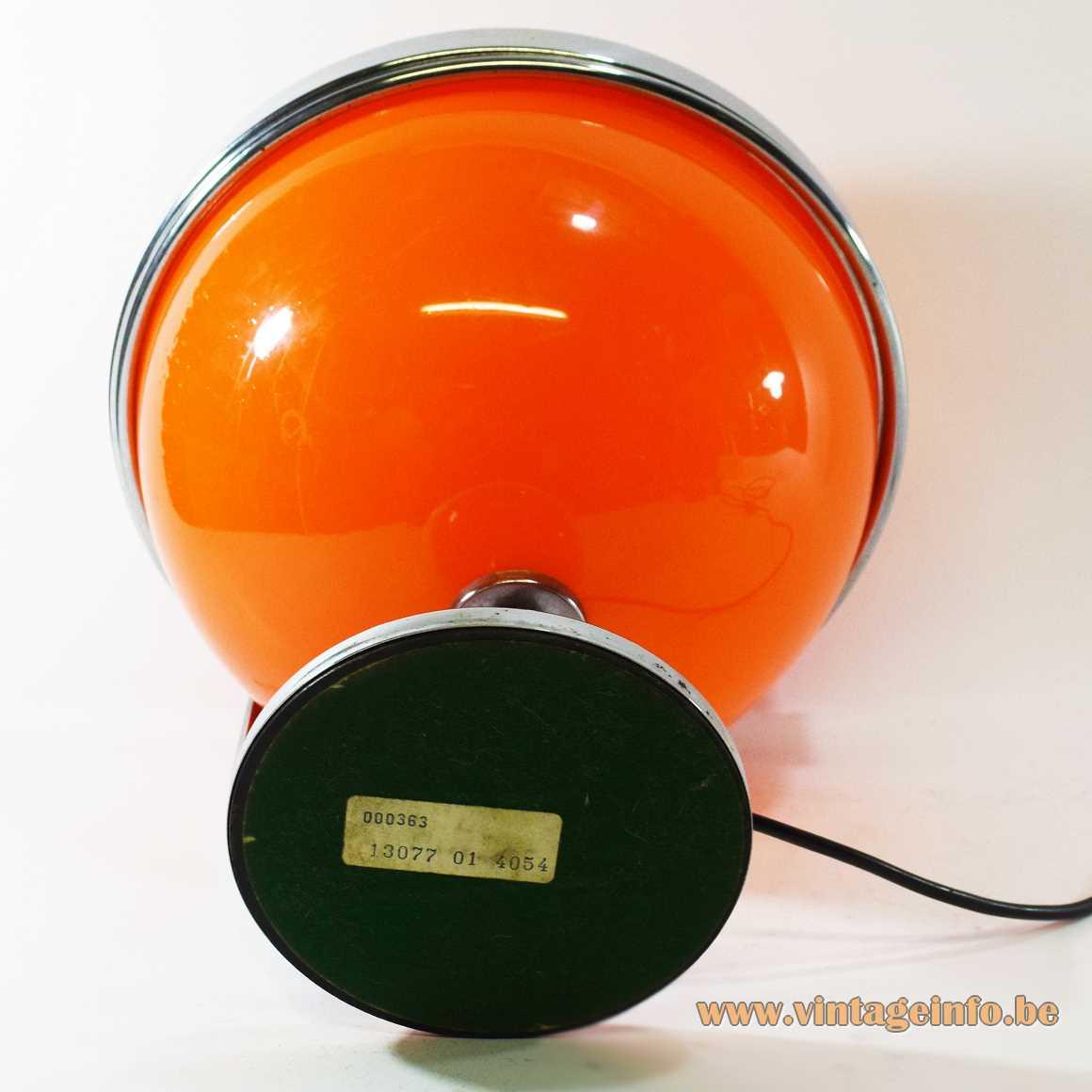 Guzzini style globe table lamp orange acrylic Perspex chrome Massive Belgium 1970s Mid-Century Modern MCM Harvey