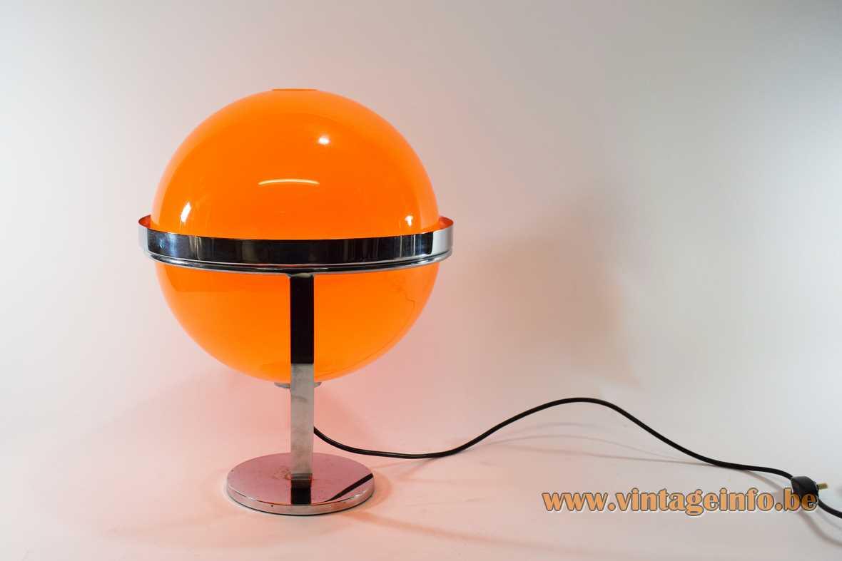 Guzzini style globe table lamp chrome base curved slat & ring 2 orange acrylic shells 1970s Harvey