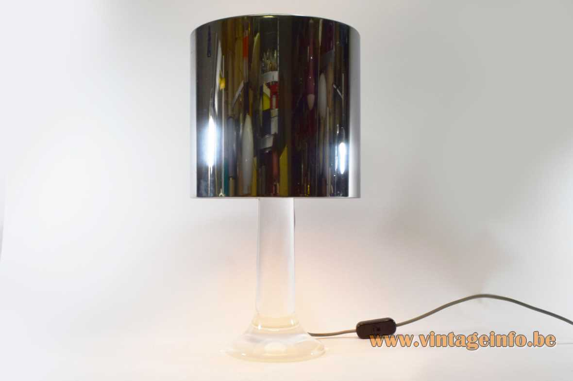 Harvey Guzzini Masselo table lamp model 4026 4005 acrylic clear lucite base stainless steel lampshade 1960s 1970s MCM Mid-Century Modern