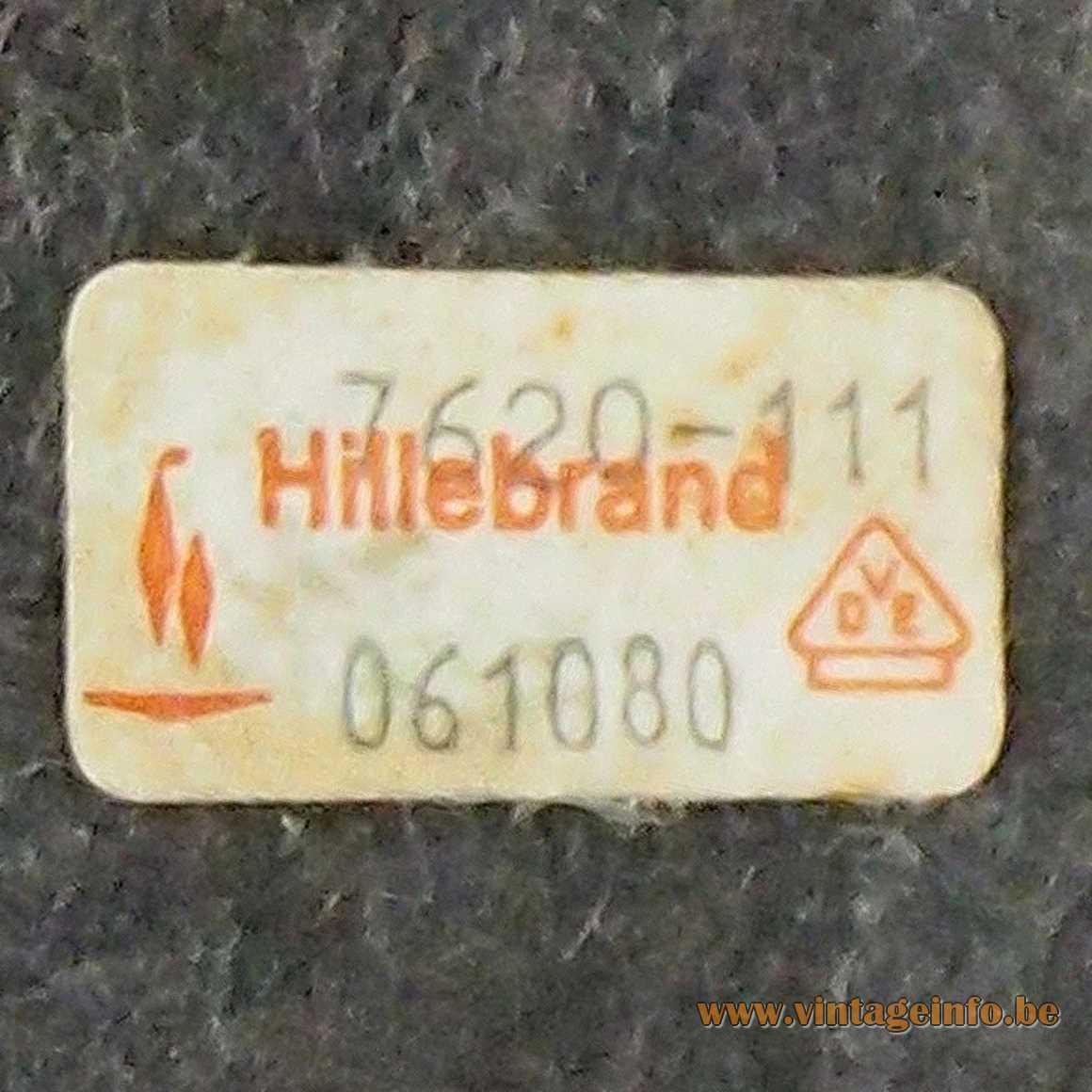 Hillebrand desk lamp 7620 Hillebrand-Leuchten label 1970s Germany