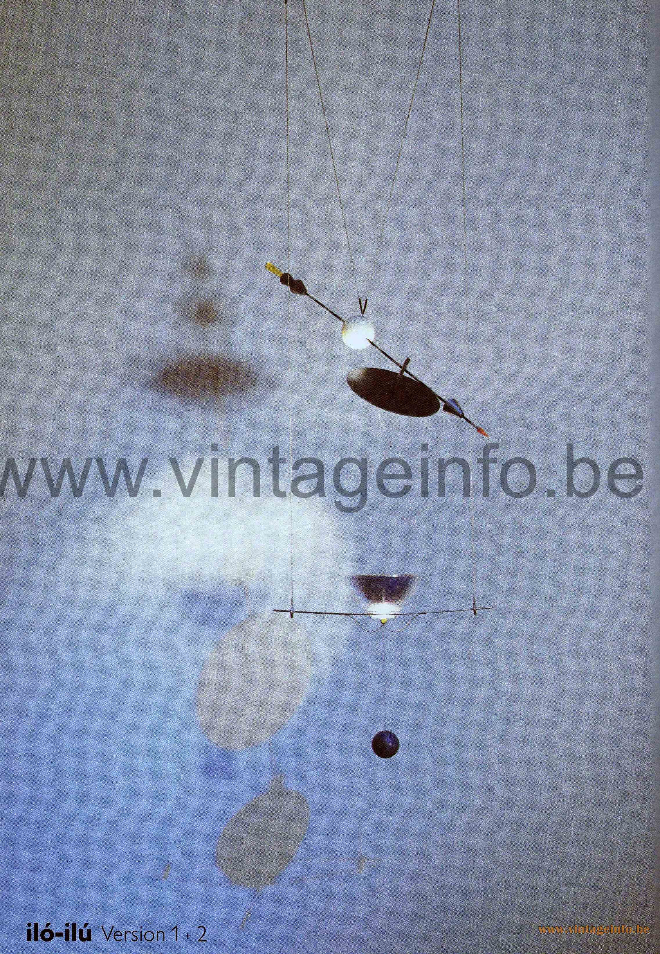 Ingo Maurer Iló-Ilú pendant lamp made of metal wire glass and plastic halogen bulb GY6.35 Touch Tronic 1990s