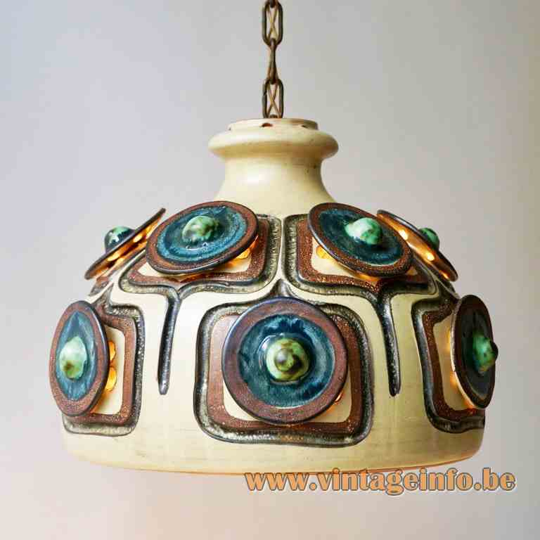 Jette Hellerøe pendant lamp ceramic lampshade in brown blue & green AXELLA Design Denmark 1970s E27 socket