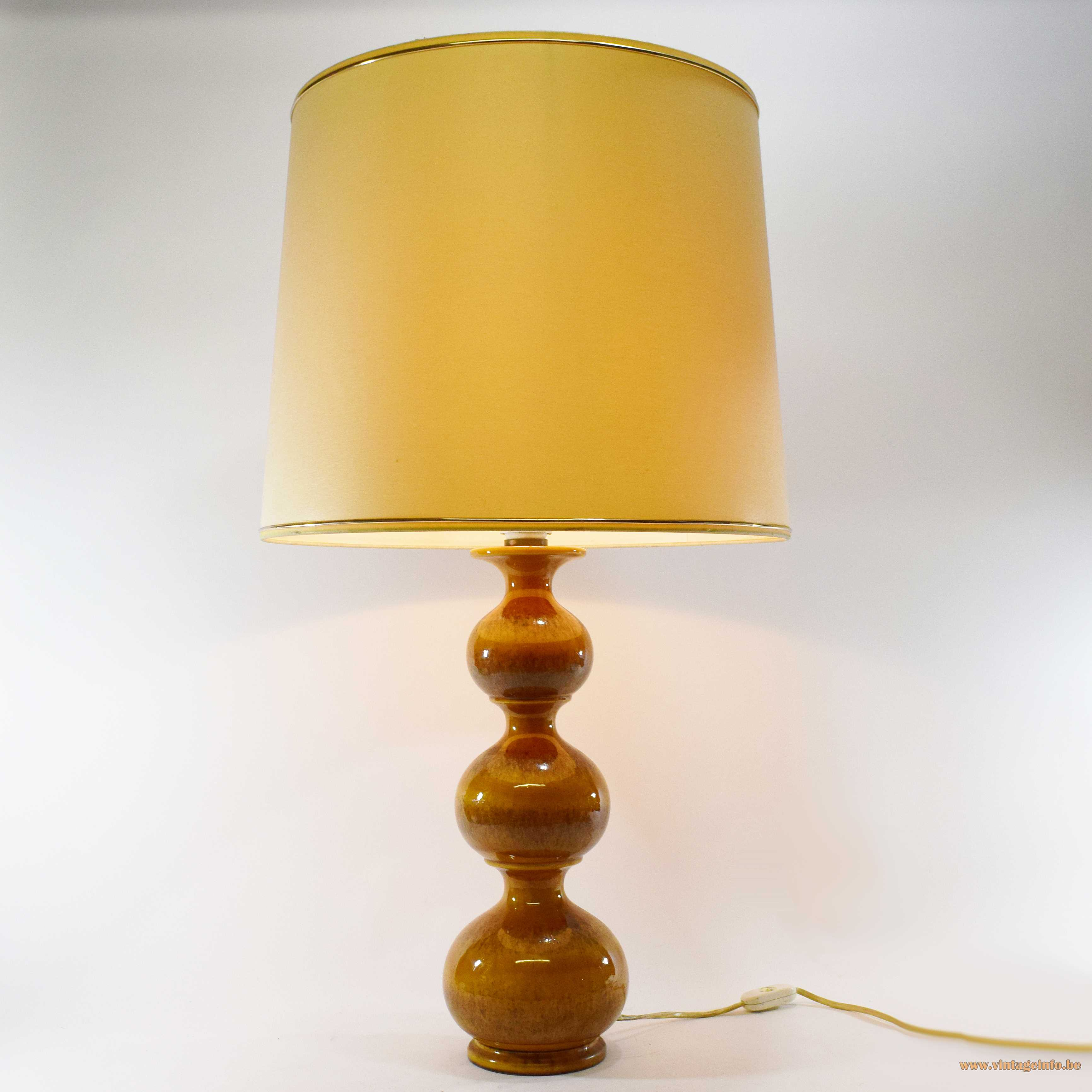 Kaiser Leuchten ceramic table lamp 3 ochre glazed globes conical fabric lampshade 1960s 1970s Germany