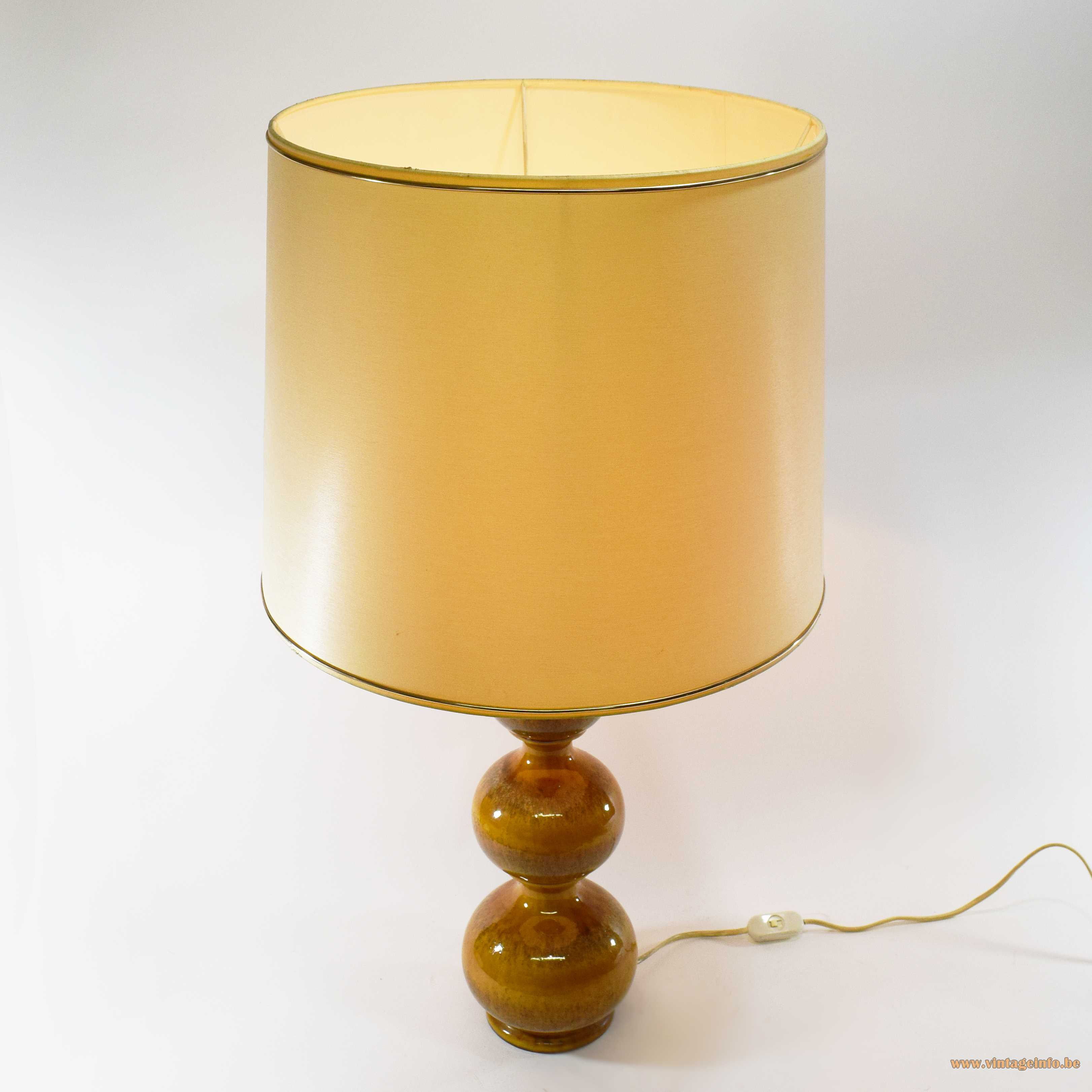 Kaiser Leuchten ceramic 3 globes table lamp ochre glazed 1960s 1970s Mid-Century Modern MCM Germany
