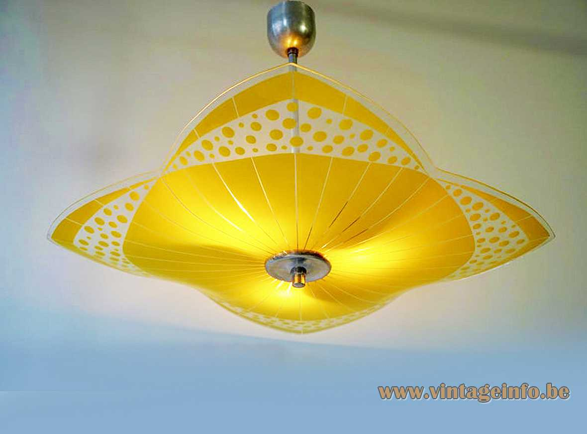 NAPAKO glass disk pendant lamp Expo 58 Brussels reversed umbrella yellow Czechoslovakia Czech Republik 1950s 1960s MCM Mid-Century Modern