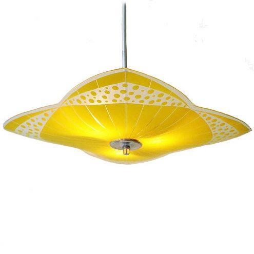 NAPAKO glass pendant lamp yellow & clear big flat disc aluminium rod canopy 1950s 1960s Czech Republic