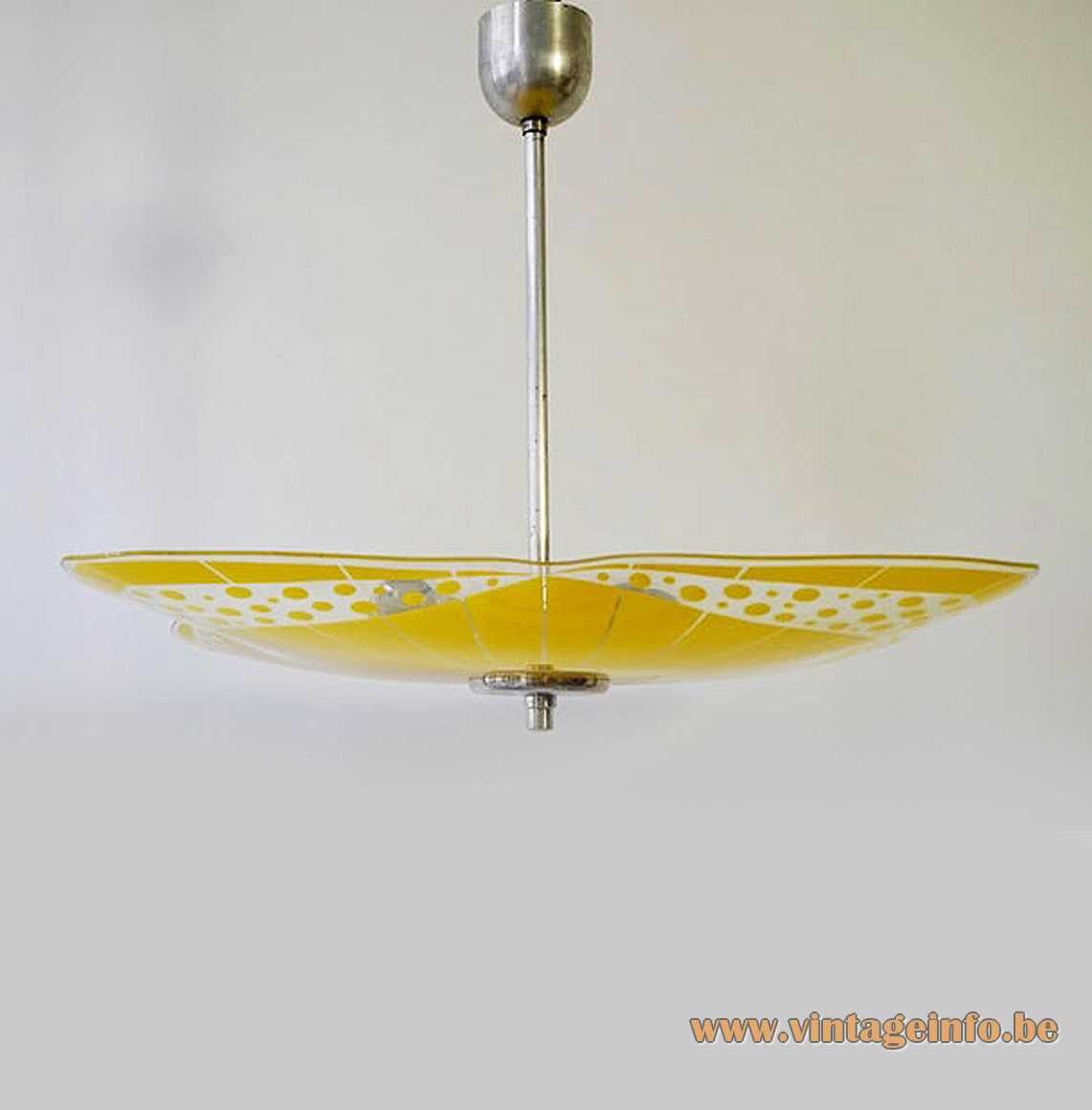 NAPAKO glass pendant lamp yellow & clear big flat disc aluminium rod canopy 1950s 1960s Czech Republic