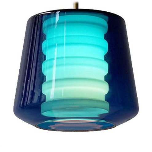 Philips Torino pendant lamp conical dark blue clear blown glass opal ribbed cylinder brass rod 1960s