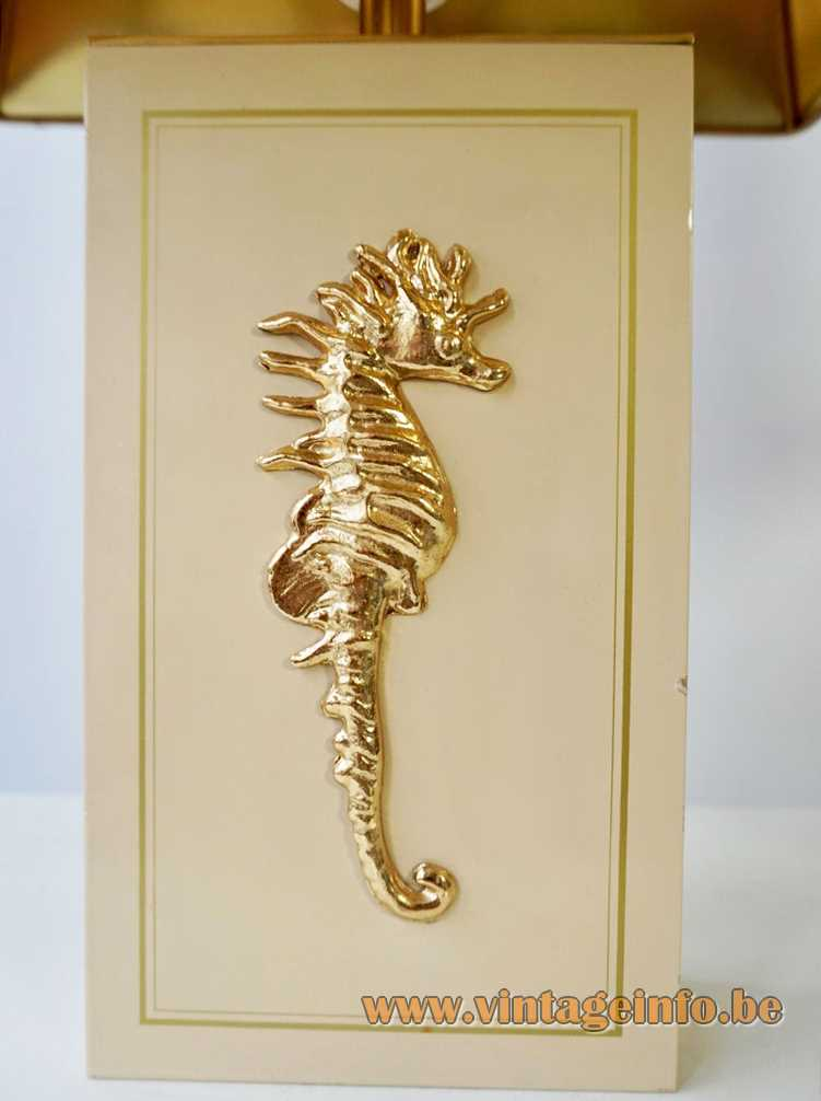 Sea Horse table lamp white wood beam base gold decoration pagoda lampshade Massive Belgium 1970s 1980s